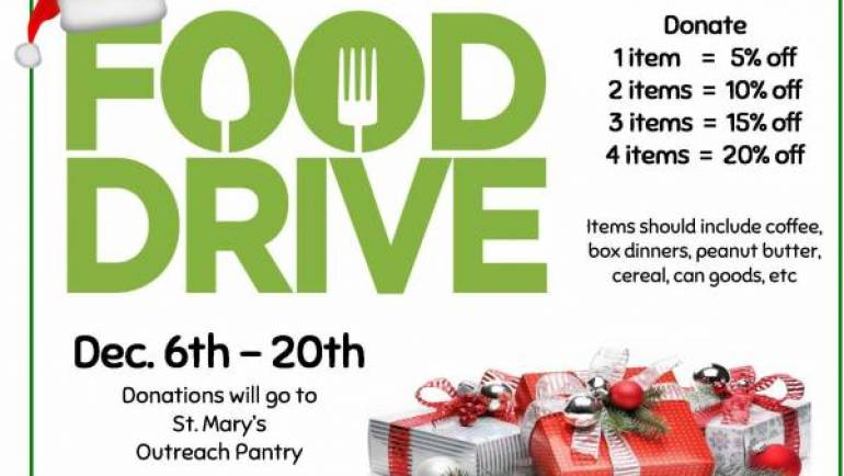 MERRY CHRISTMAS FOOD DRIVE + SAVINGS!!!