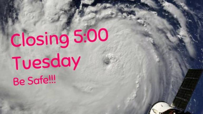 Hurricane Florence – closing at 5:00 pm on Tuesday Sept. 11
