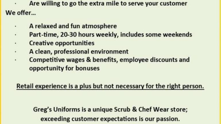 GREG'S IS HIRING!