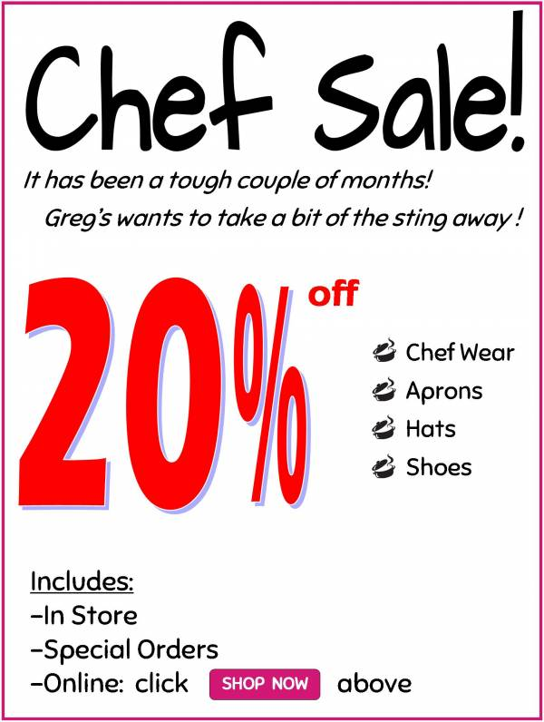 SALE EXTENDED for Chefs & Restaurant Staff